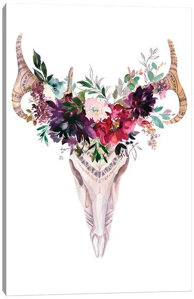 Burgundy Floral Scull Canvas Art Print