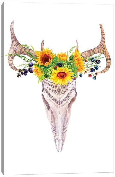Bull Skull In Sunflower Garland Canvas Art Print