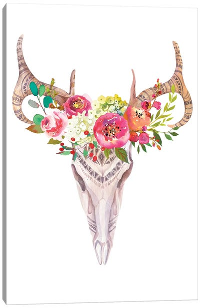 Bull Skull In Roses Garland Canvas Art Print