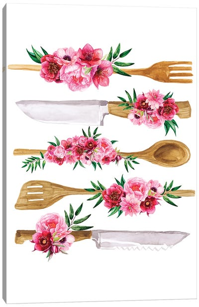 Floral Cutlery Print Canvas Art Print