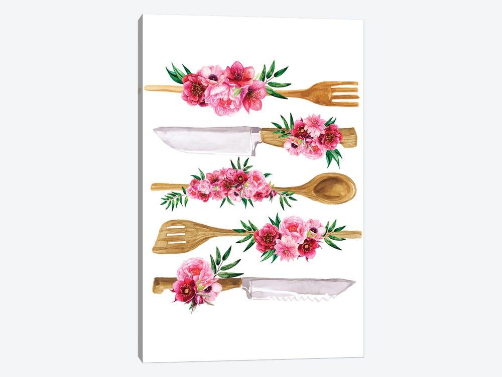 Floral Cutlery Print by Jania Sharipzhanova 1-piece Canvas Artwork