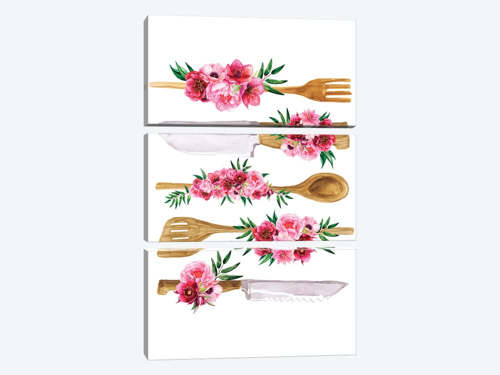 Floral Cutlery Print by Jania Sharipzhanova 3-piece Canvas Art