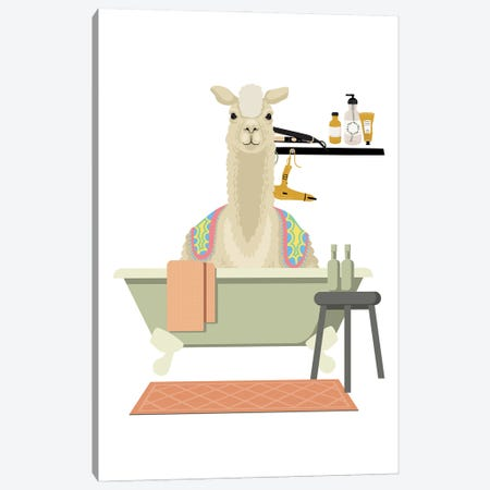 Llama In Bathtub Canvas Print #SHZ5} by Jania Sharipzhanova Canvas Art