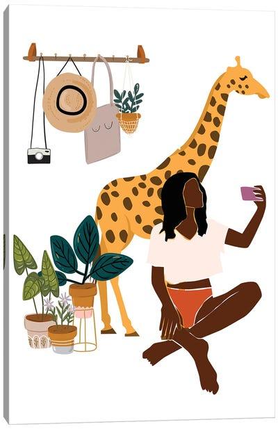 Giraffe Selfie Canvas Art Print