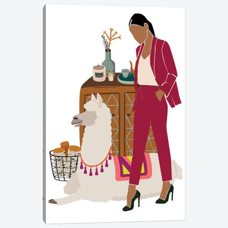 Christmas With Llama Canvas Print #SHZ62} by Jania Sharipzhanova Canvas Artwork