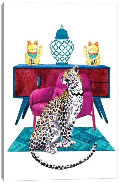 Cheetah In Maximalist Decor Canvas Art Print