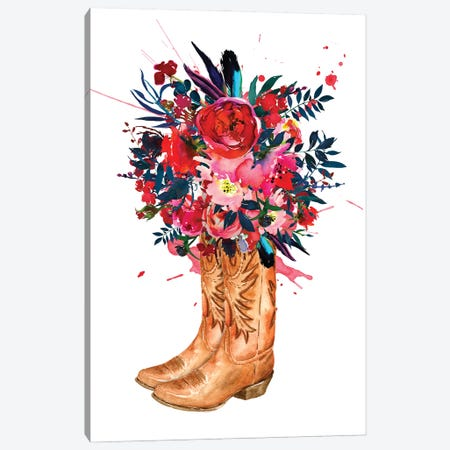 Boots And Roses Canvas Print #SHZ71} by Jania Sharipzhanova Art Print