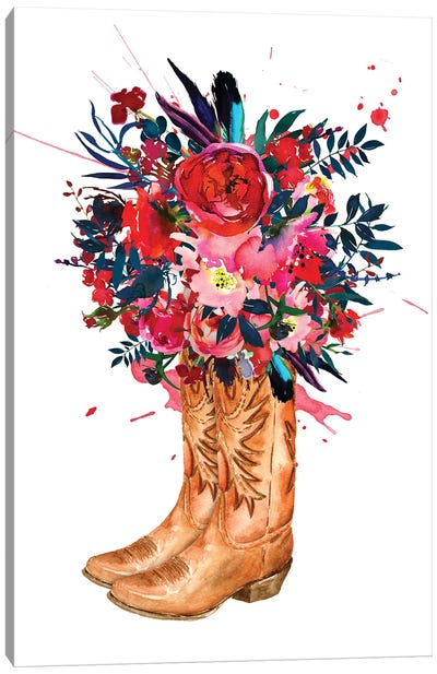 Boots And Roses Canvas Art Print