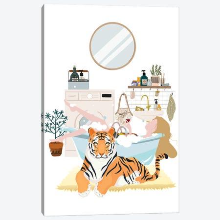 Urban Jungles Tiger In The Bathroom Canvas Print #SHZ73} by Jania Sharipzhanova Canvas Print