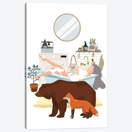 Urban Jungles Forest Animals In The Bathroom Canvas Print #SHZ74} by Jania Sharipzhanova Canvas Wall Art