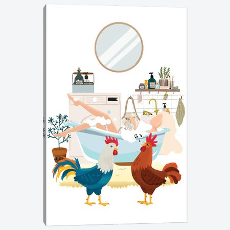 Urban Jungles Roosters In The Bathroom Canvas Print #SHZ76} by Jania Sharipzhanova Canvas Art