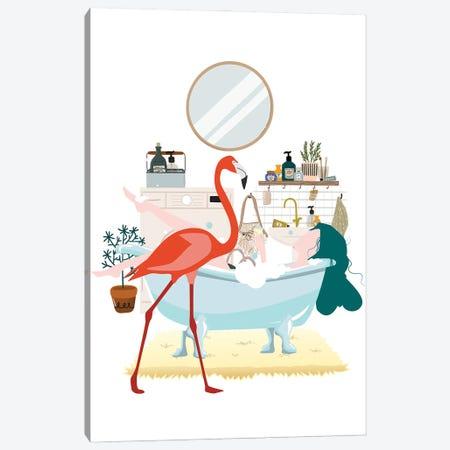 Flamingo Urban Jungles Canvas Print #SHZ81} by Jania Sharipzhanova Canvas Wall Art