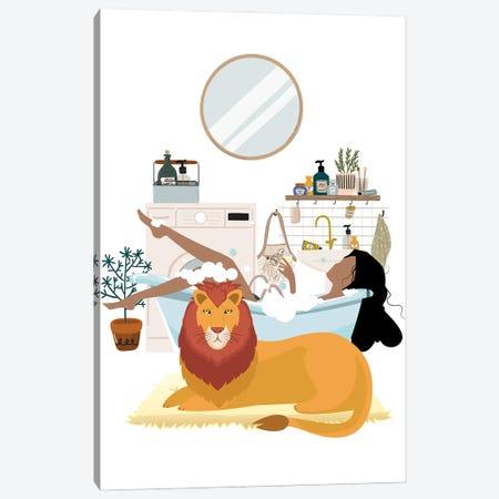 Lion In Bathroom Urban Jungles Series Canvas Print #SHZ87} by Jania Sharipzhanova Art Print