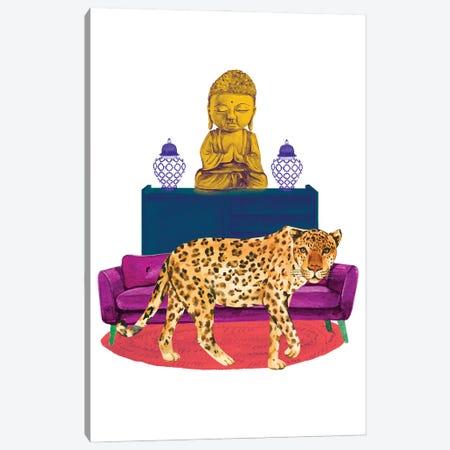 Cheetah In Living Room Canvas Print #SHZ8} by Jania Sharipzhanova Canvas Art Print
