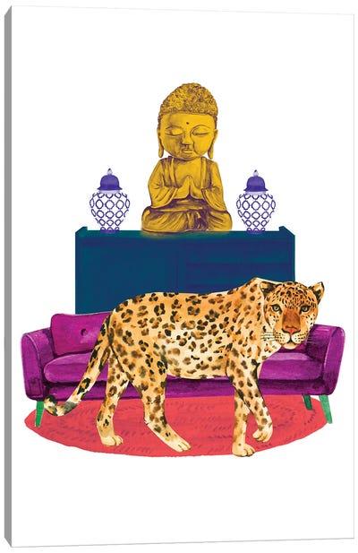 Cheetah In Living Room Canvas Art Print