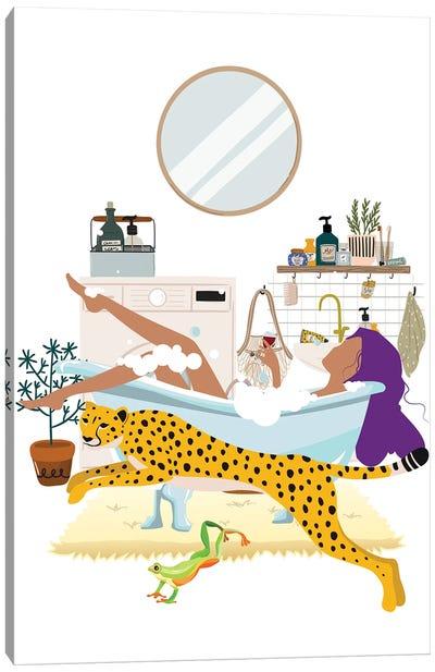 Jumping Cheetah Urban Jungles Series Canvas Art Print