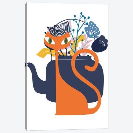 Mod Ginger Cat Canvas Print #SHZ94} by Jania Sharipzhanova Canvas Wall Art