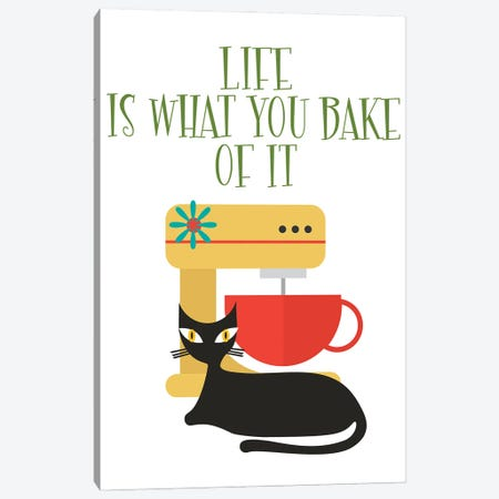 Life Is What You Bake Of It Mod Cat Canvas Print #SHZ95} by Jania Sharipzhanova Canvas Art