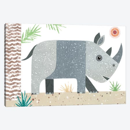 Rhino 3-Piece Canvas #SIH122} by Simon Hart Canvas Print