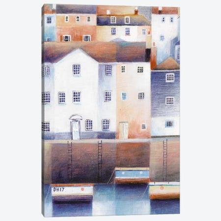 Waterside Houses Canvas Print #SIH12} by Simon Hart Canvas Wall Art