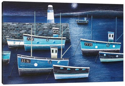 Moonlight On St Ives Canvas Art Print