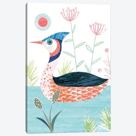 Crested Grebe Canvas Print #SIH63} by Simon Hart Art Print