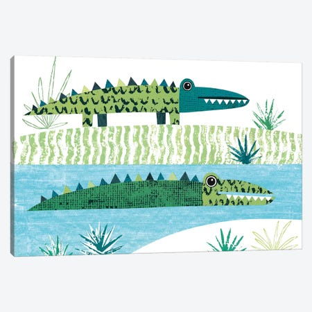 Crocodile Canvas Print #SIH64} by Simon Hart Canvas Art