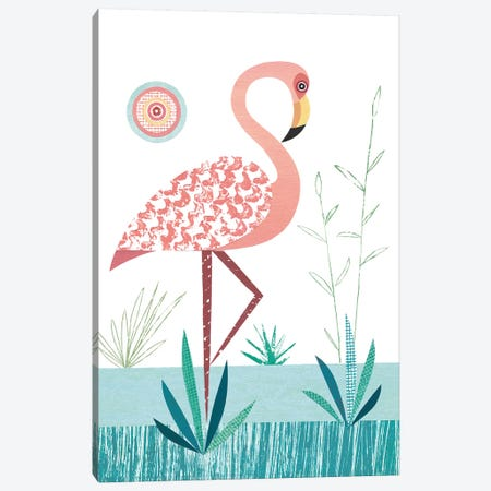 Flamingo 3-Piece Canvas #SIH78} by Simon Hart Canvas Art