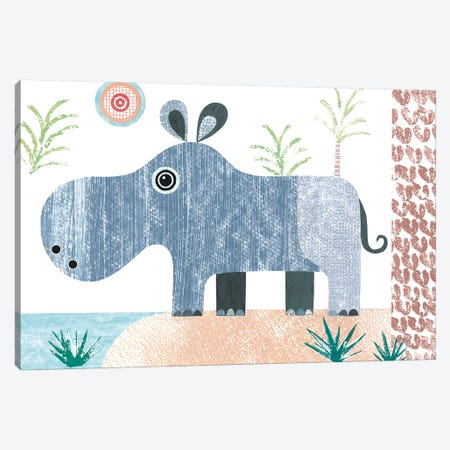 Hippo Canvas Print #SIH91} by Simon Hart Canvas Wall Art