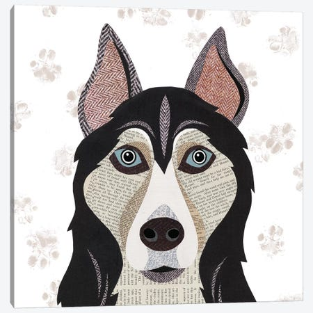 Huskie Canvas Print #SIH92} by Simon Hart Canvas Artwork