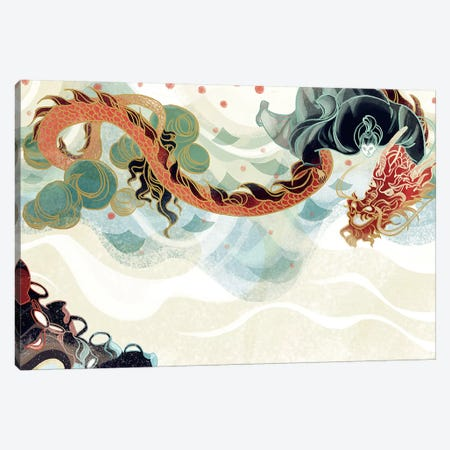 Dragon's Treasure Canvas Print #SIJ5} by Sija Hong Canvas Wall Art