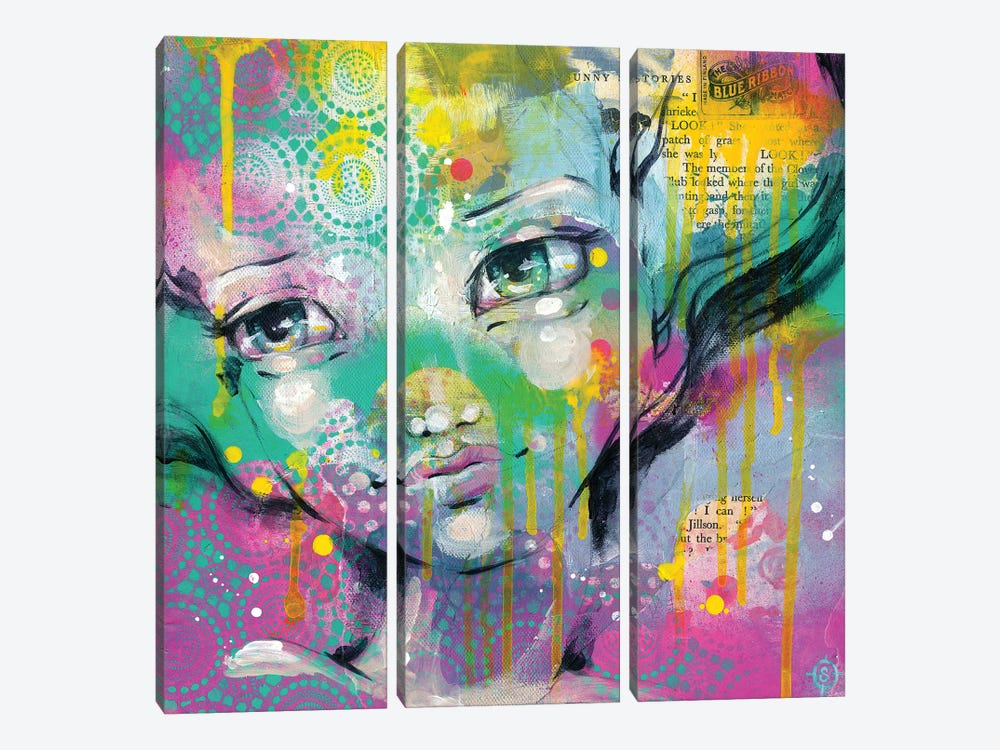 Daydreaming Away by Sillier Than Sally 3-piece Canvas Artwork