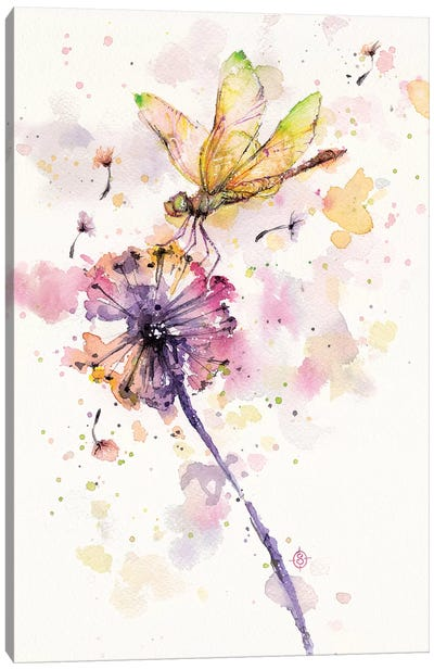 Dragonfly and Dandelion Canvas Art Print