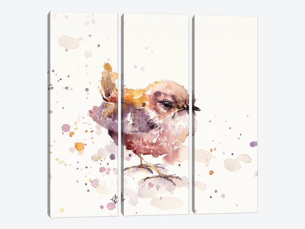 Fluffy Le Wren by Sillier Than Sally 3-piece Canvas Art Print