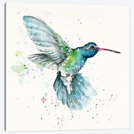 Hummingbirds Flurry Canvas Print #SIL27} by Sillier Than Sally Canvas Artwork