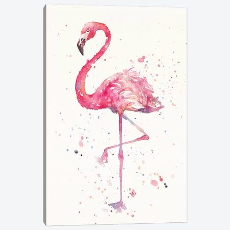A Flamingos Fancy Canvas Print #SIL2} by Sillier Than Sally Art Print