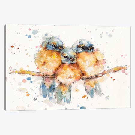 Little Bluebirds Canvas Print #SIL34} by Sillier Than Sally Canvas Art Print