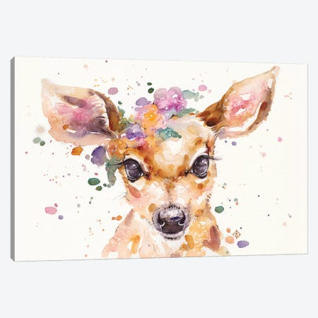 Little Deer Canvas Print #SIL36} by Sillier Than Sally Art Print