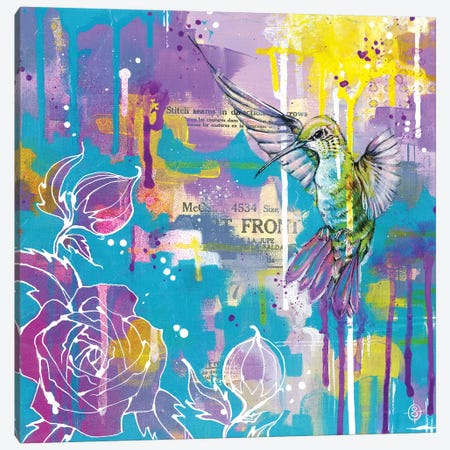 A Hummingbirds Folly Canvas Print #SIL3} by Sillier Than Sally Art Print