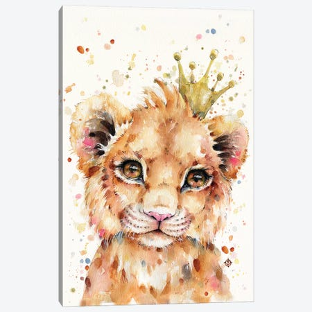 Little Lion Canvas Print #SIL40} by Sillier Than Sally Art Print