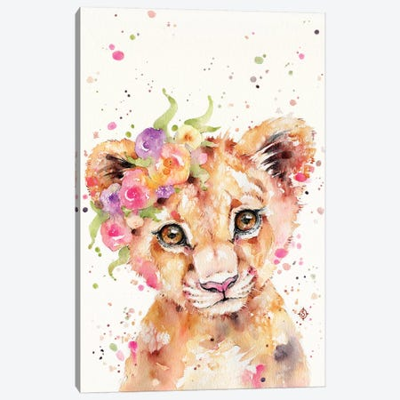 Little Lioness Canvas Print #SIL41} by Sillier Than Sally Canvas Print