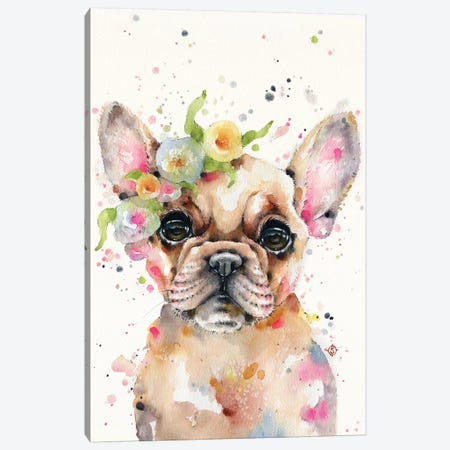 Little Miss Frenchie Canvas Print #SIL44} by Sillier Than Sally Canvas Artwork