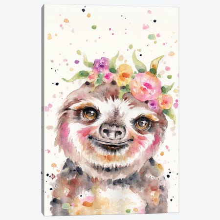 Little Sloth Canvas Print #SIL45} by Sillier Than Sally Canvas Art