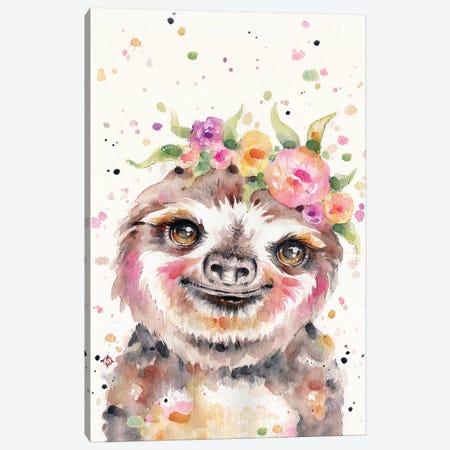 Little Sloth Canvas Print #SIL45} by Sillier Than Sally Canvas Art