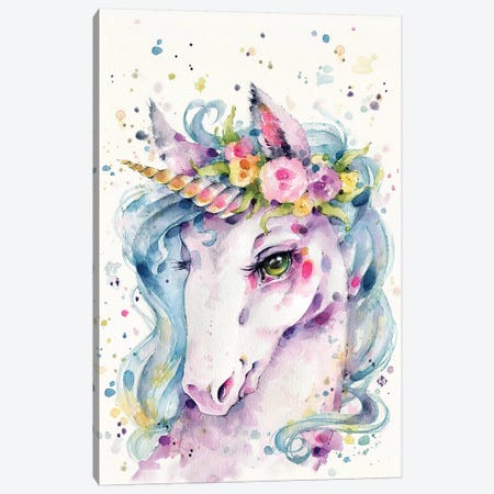 Little Unicorn Canvas Print #SIL46} by Sillier Than Sally Canvas Artwork
