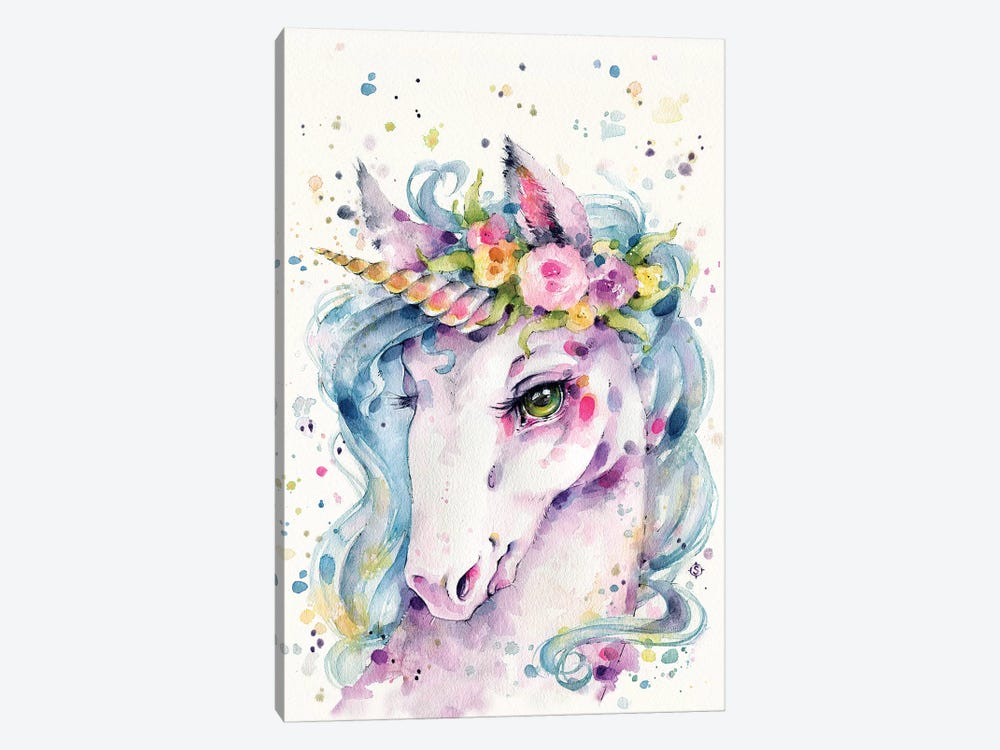 Little Unicorn by Sillier Than Sally 1-piece Canvas Art Print