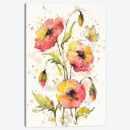 Poppies Galore Canvas Print #SIL59} by Sillier Than Sally Canvas Art