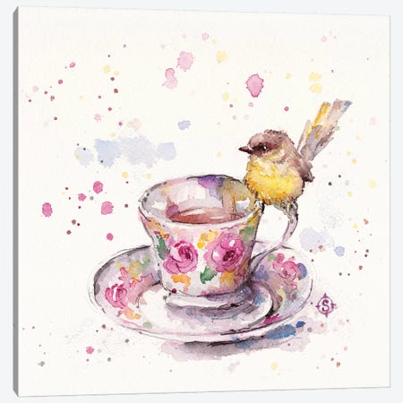 There's Always Time For Tea Canvas Print #SIL66} by Sillier Than Sally Canvas Artwork