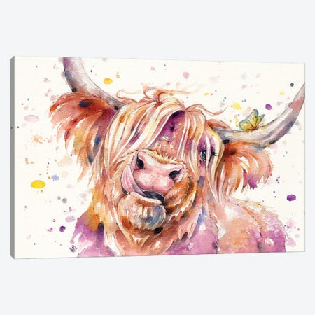 Bad Hair Don't Care (Scottish Highland Cow) Canvas Print #SIL76} by Sillier Than Sally Canvas Print