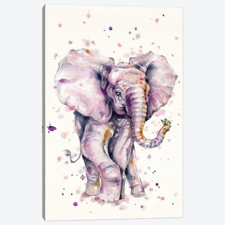 Elly Love (Baby Elephant) Canvas Print #SIL77} by Sillier Than Sally Canvas Print